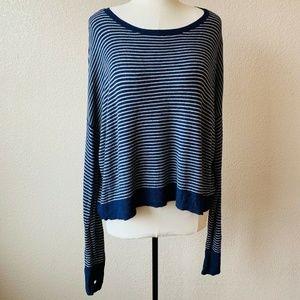 Eileen Fisher Sweater Navy Blue Stripe
